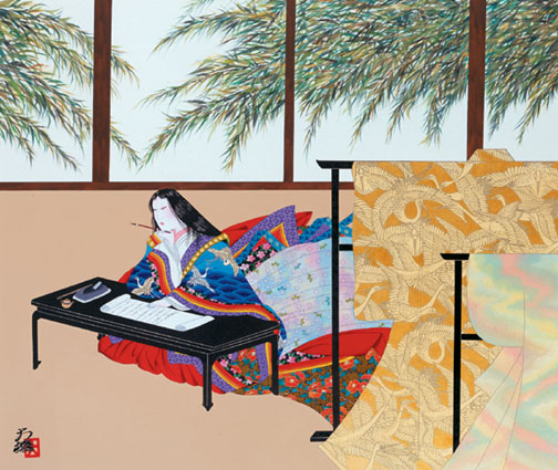 The Pillow Book, Sei Shonagon by Hisashi Otsuka Original on silk
